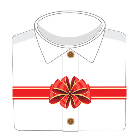 New blanching shirt decorated by tape and bow in gift