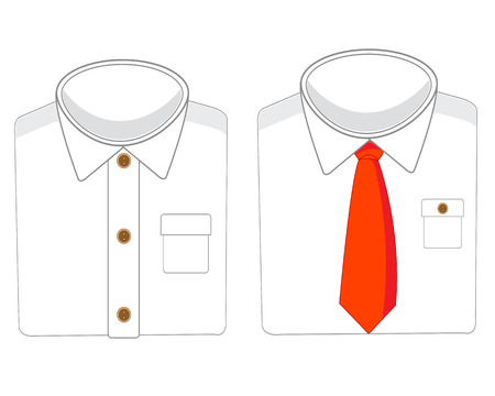 White shirts with tie on white background is insulated
