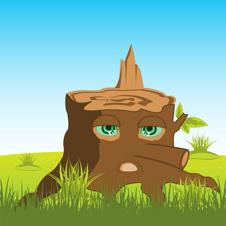 alive: Alive stump tree with eye on background of the nature Illustration