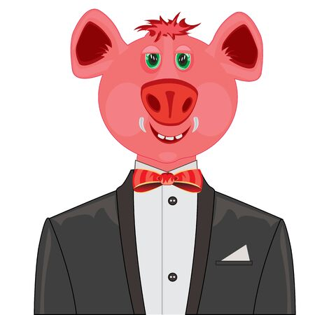 mumps: Cartoon piglet in black suit with tie by butterfly Illustration