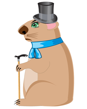 woodchuck: Cartoon of the woodchuck in hat and scarf on white background