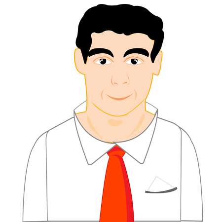 insulated: Smiling man in shirt and red tie on white background is insulated