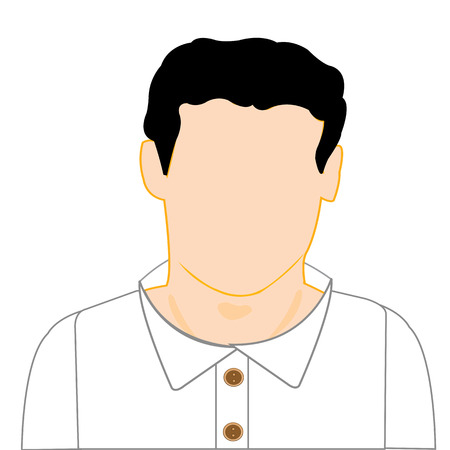 The Silhouette young men with white shirt.Vector illustration