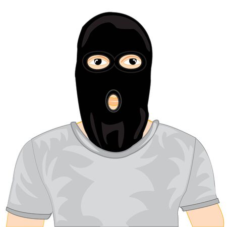 brigand: The Man hiding person under black mask.Vector illustration
