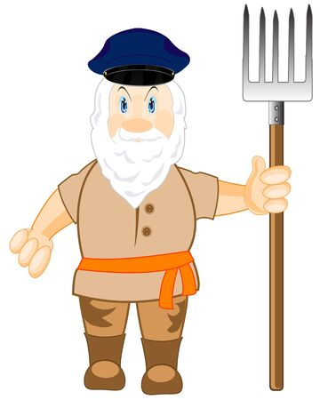 an agronomist: The Grandparent with beard with pitchfork in hand.Vector illustration Illustration