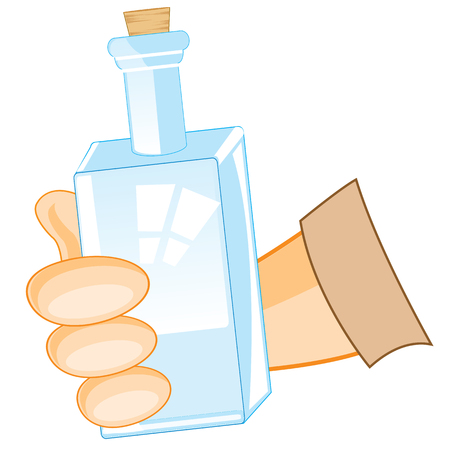 keep clean: Glass bottle in hand of the person on white background is insulated