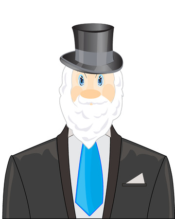 bearded man: Bearded man in tuxedo with tie on white background