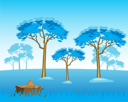 deserted: The Beautiful winter landscape with tree and snow.Vector illustration