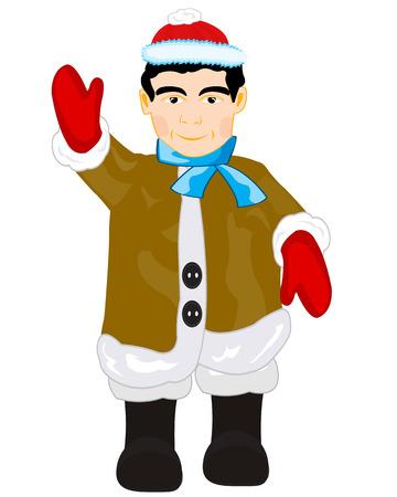 manteau de fourrure: Jeune personne en manteau de fourrure chaude sur fond blanc isol�