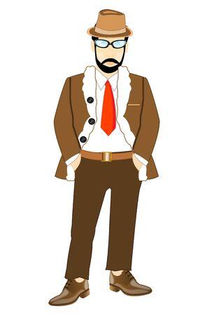 manteau de fourrure: L'homme � la barbe en manteau de fourrure sur fond blanc est isol� Illustration
