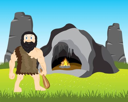 neanderthal  man: The Cave person with bat beside its vein.Vector illustration