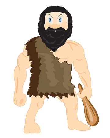 neanderthal  man: Prehistorical person with wooden blackjack in hand Illustration