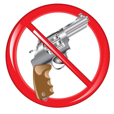 firearm: Red sign prohibiting firearm on white background is insulated
