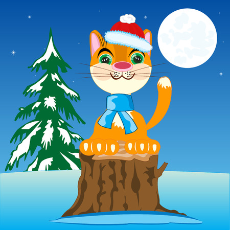natty: The New years cat in in winter wood in the night.Vector illustration