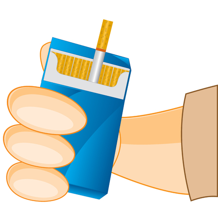 cigarette pack: Openning cigarette pack in hand of the person.Vector illustration