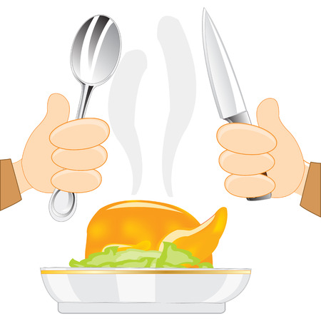 carcass meat: Hot meal on plate and tablewears on white background is insulated Illustration