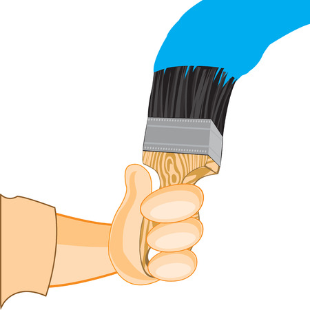 colouration: Hand of the person with hand and blue paint on white background