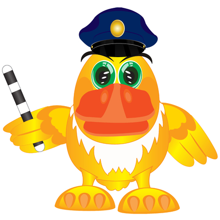 truncheon: Cartoon of the bird with truncheon in service cap of the police bodies