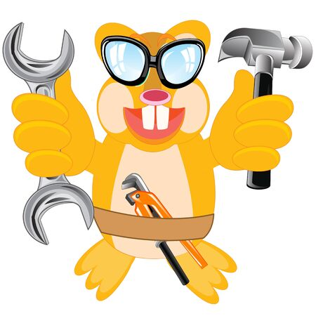 teeths: Cartoon merry animal beaver with tools on white background is insulated Illustration