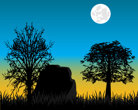 dawning: The Matutinal landscape on nature and tree.Vector illustration