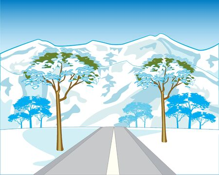sectoring: The Car road in mountain in winter.Vector illustration