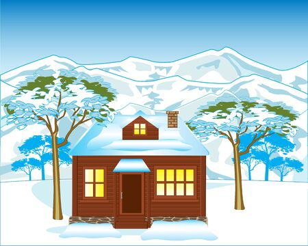 lodge: The Winter wood and small house.Vector illustration