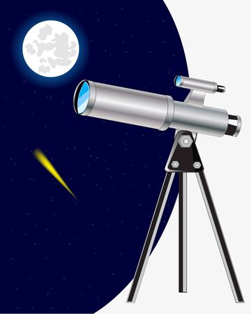 observing: The Instrument telescope observing for the moon and starry sky Illustration