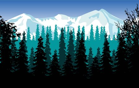 snow mountains: Beautiful landscape of the snow mountains and wood
