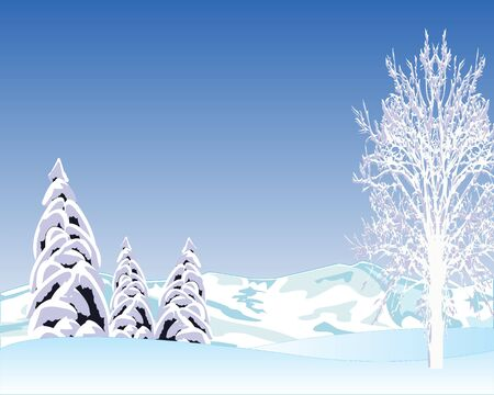 blanching: illustration of the clean winter day on nature Illustration