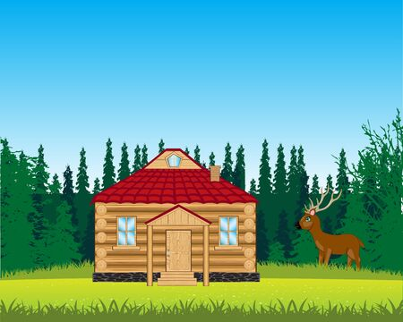 The Small house on year glade Vector Illustration