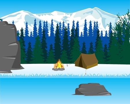 riverside landscape: Wild winter landscape with tent and riverside campfire