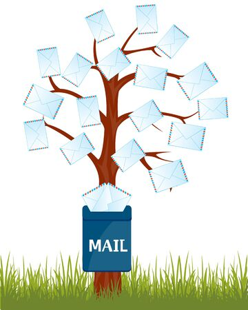 news letter: The Cartoon tree with letter and mailbox on tree.