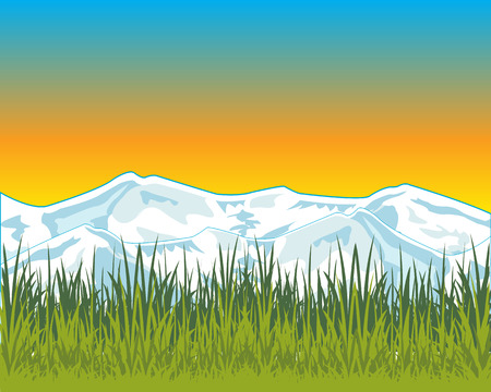 dawning: The Landscape of the year field and snow mountains. Illustration