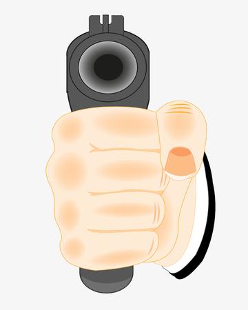 Hand of the person with weapon on white background is insulated