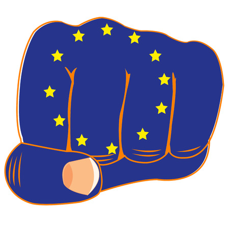 boycott: Vector illustration of the flag of the europe on fist of the person Illustration