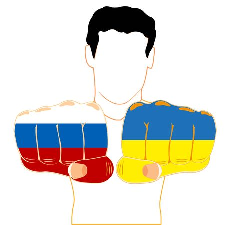 onward: Silhouette men with extended onward fist painted in colour of the flag of the ukraine and russia Illustration