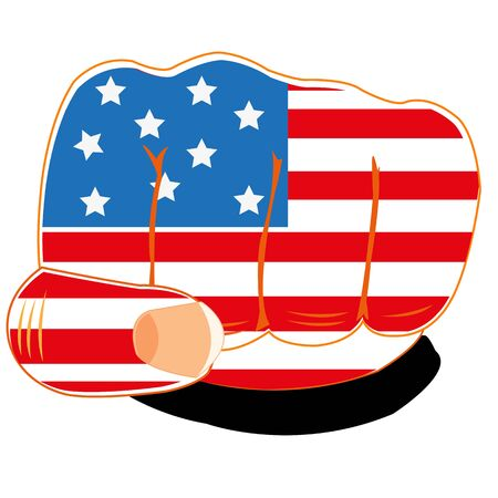 boycott: Vector illustration of the flag of the america on fist of the person Illustration