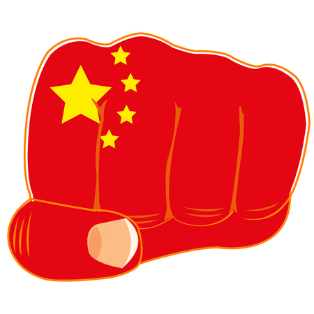 boycott: Vector illustration of the flag of the china on fist of the person