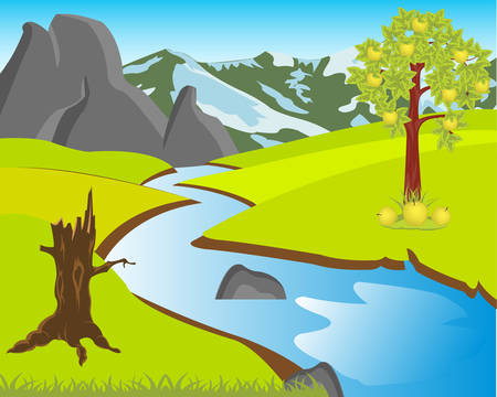 aple: The Beautiful landscape with river and glade.Vector illustration