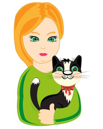 keeps: The Nice girl keeps the cat on hand.Vector illustration