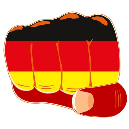boycott: Vector illustration of the flag of the germany on fist of the person