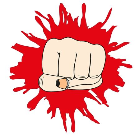 The Male fist overpunches the wall.Vector illustration