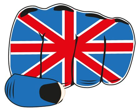 boycott: Vector illustration of the flag of the england on fist of the person Illustration