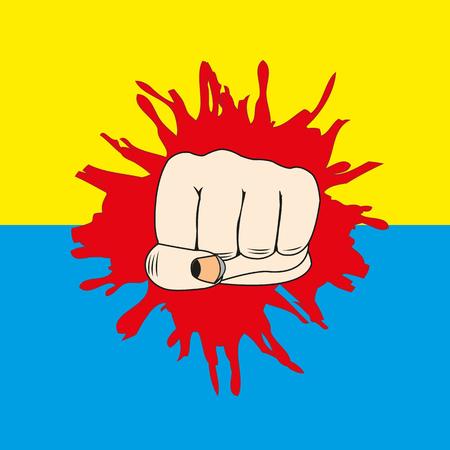 detonated: The Fist overpunching flag of the ukraine.Vector illustration