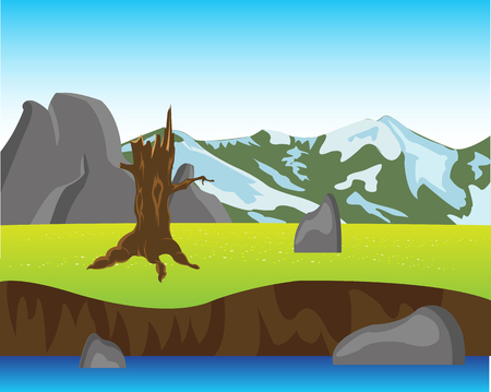 breakaway: The Landscape yard and mountains year daytime.Vector illustration