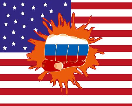 blow up: The Russian fist overpunching flag of the america.Vector illustration Illustration