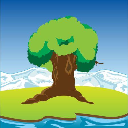 The Big tree on riverside glade.Vector illustration Ilustração