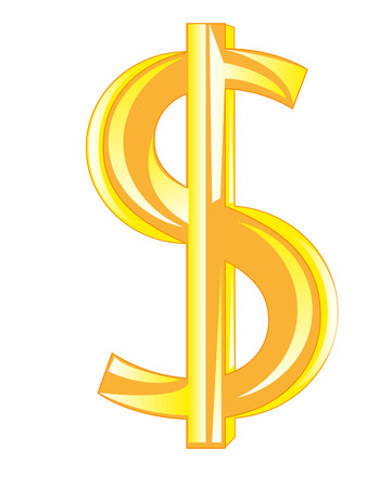 earns: Sign dollar from gild on white background is insulated Illustration