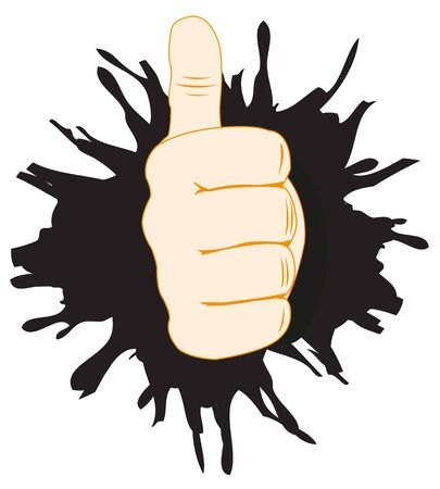 rifts: Human hand with raised upwards finger in break wall Illustration