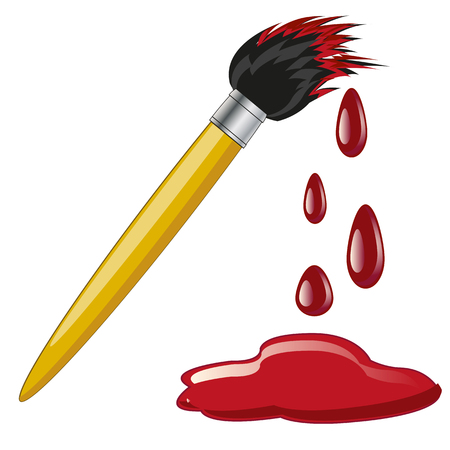 colouration: Tassel for colouration and puddle of the red paint Illustration